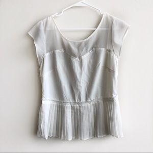 American Eagle | Peplum Pleated Mesh Tank Top